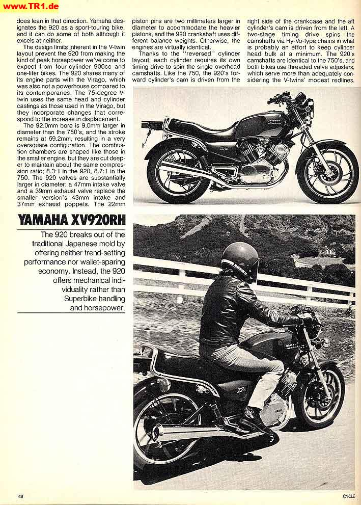 English magazines - Manfred's TR1  Page - All about YAMAHA TR1