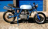 Matthias Wiessler's bike. A TR1 'trailie' conversion by Ferdinand März and a hand-made exhaust by Brausch from Wales. Frame is from a Ducati 900 SD