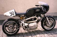 Three pictures of Sepp Koch's 1200cc racing bike. Note the completely self-made (~100 hours!) exhauster and pipes [1 of 3]